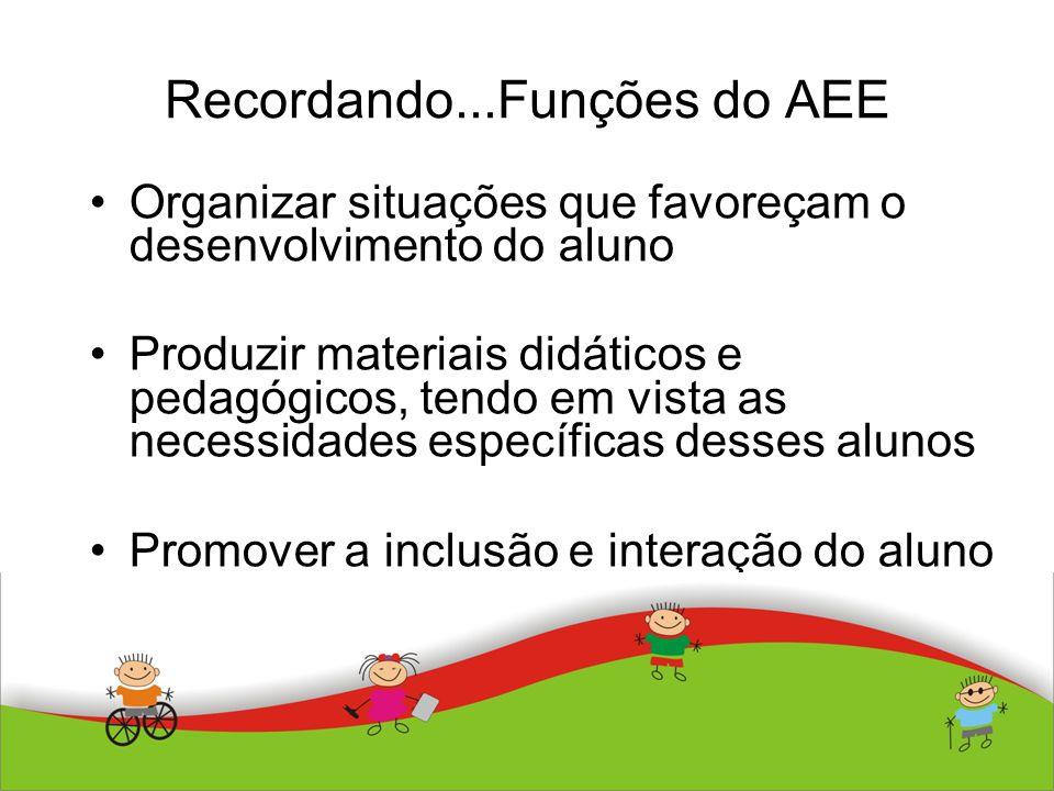 Recordando...Funções do AEE