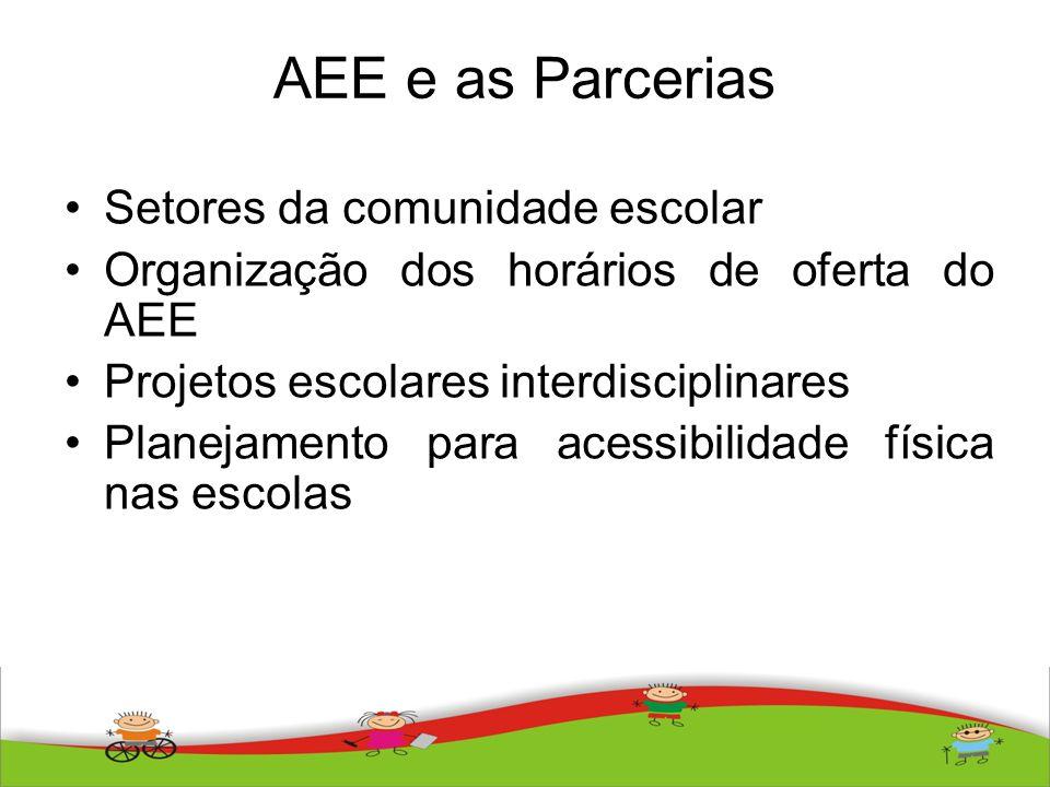 AEE e as Parcerias Setores da comunidade escolar
