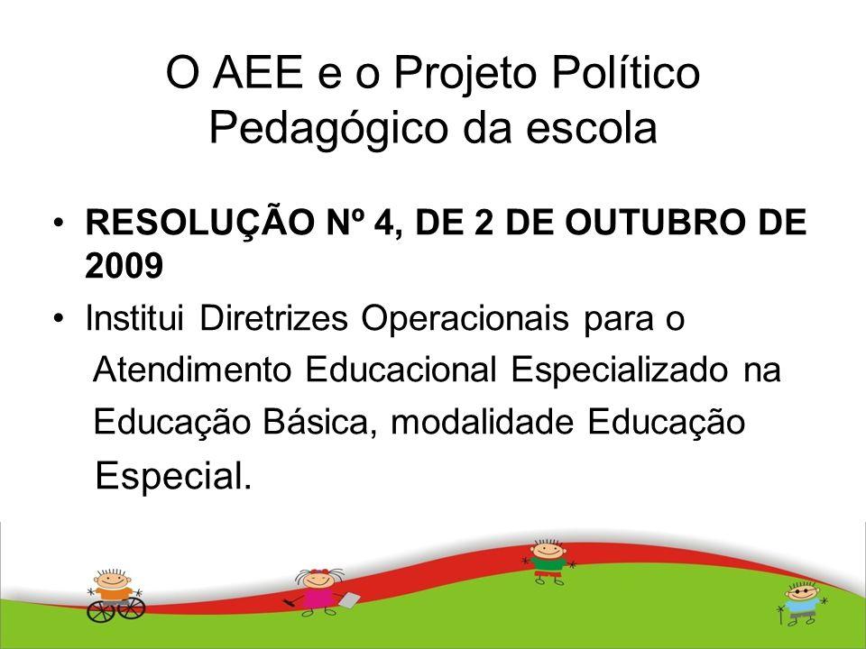O AEE e o Projeto Político Pedagógico da escola