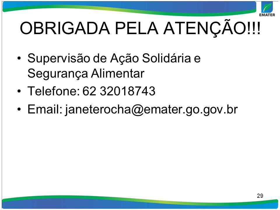 OBRIGADA PELA ATENÇÃO!!! Supervisão de Ação Solidária e Segurança Alimentar. Telefone: 62 32018743.