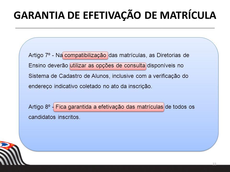 GARANTIA DE EFETIVAÇÃO DE MATRÍCULA