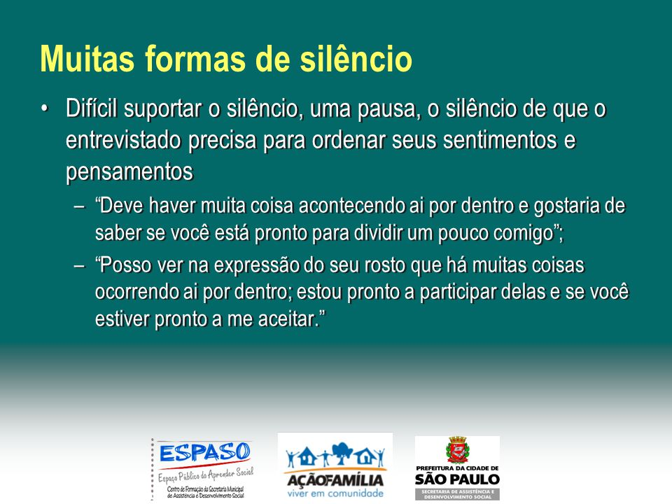 Muitas formas de silêncio