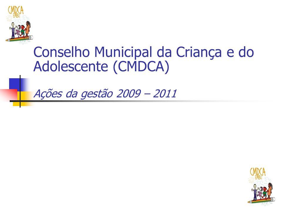 Conselho Municipal da Criança e do Adolescente (CMDCA) Ações da gestão 2009 – 2011