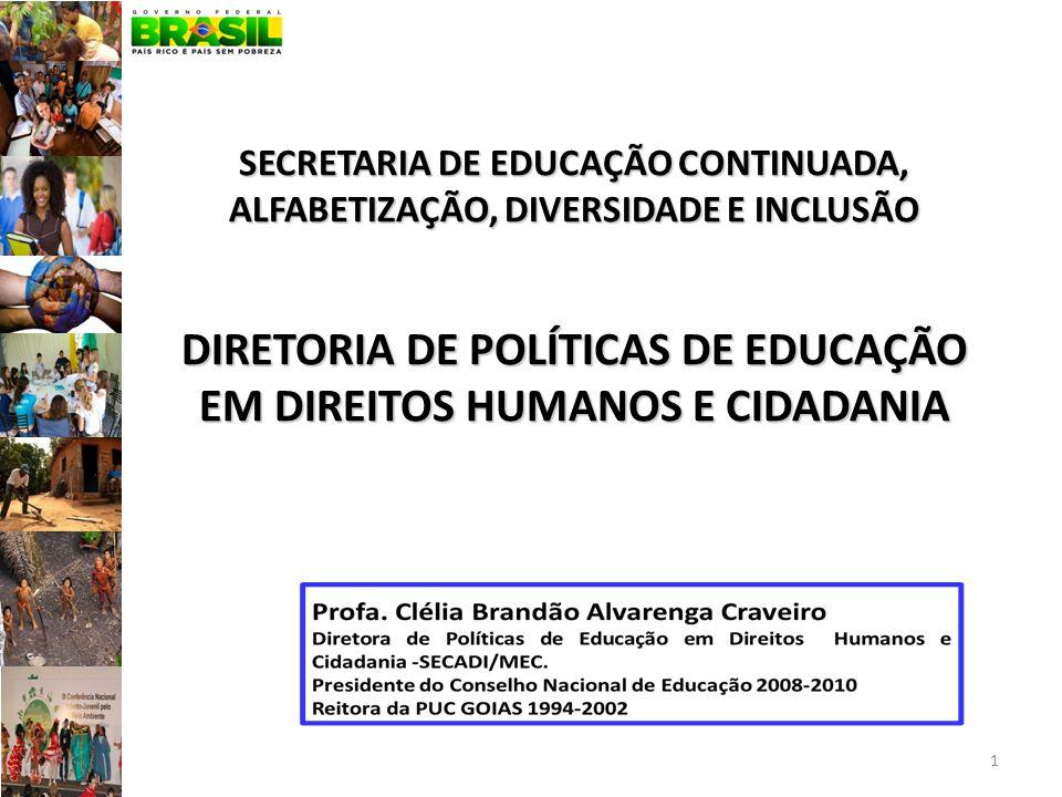 SECRETARIA DE EDUCAÇÃO CONTINUADA, ALFABETIZAÇÃO, DIVERSIDADE E INCLUSÃO DIRETORIA DE POLÍTICAS DE EDUCAÇÃO EM DIREITOS HUMANOS E CIDADANIA
