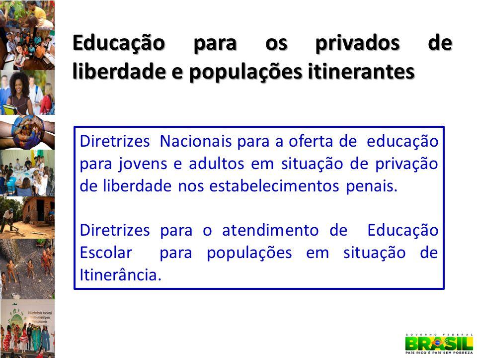 Educação para os privados de liberdade e populações itinerantes