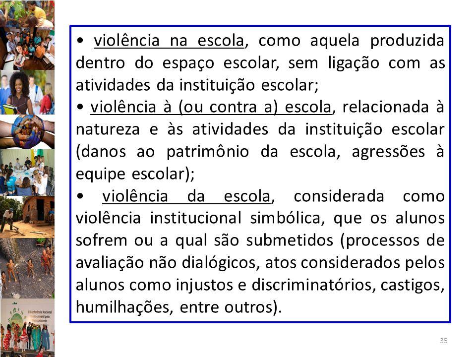 • violência na escola, como aquela produzida dentro do espaço escolar, sem ligação com as atividades da instituição escolar;