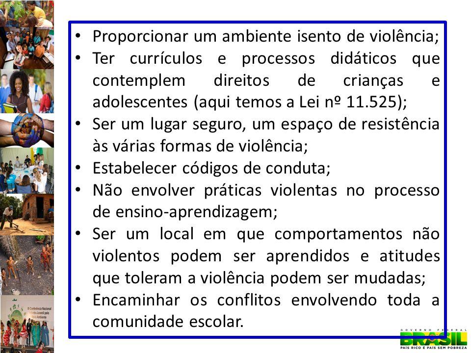 Proporcionar um ambiente isento de violência;