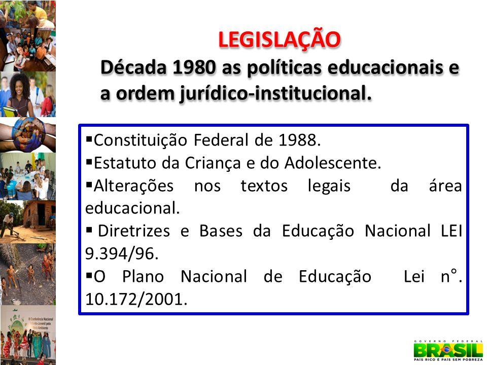 LEGISLAÇÃO Década 1980 as políticas educacionais e a ordem jurídico-institucional.
