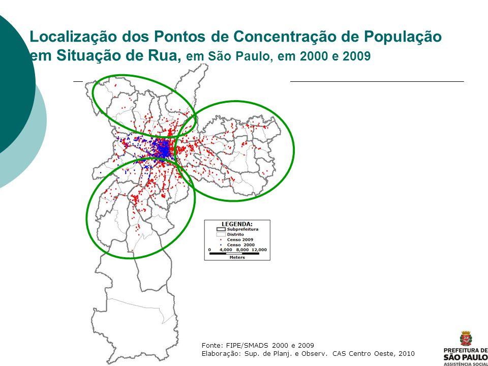 Localização dos Pontos de Concentração de População em Situação de Rua, em São Paulo, em 2000 e 2009