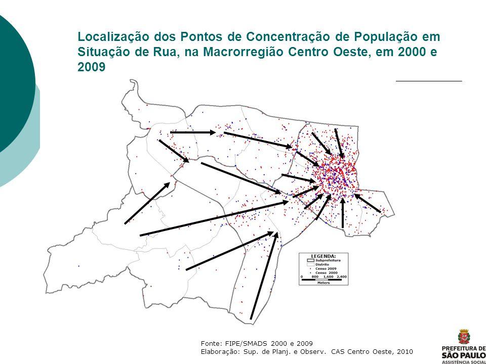Localização dos Pontos de Concentração de População em Situação de Rua, na Macrorregião Centro Oeste, em 2000 e 2009