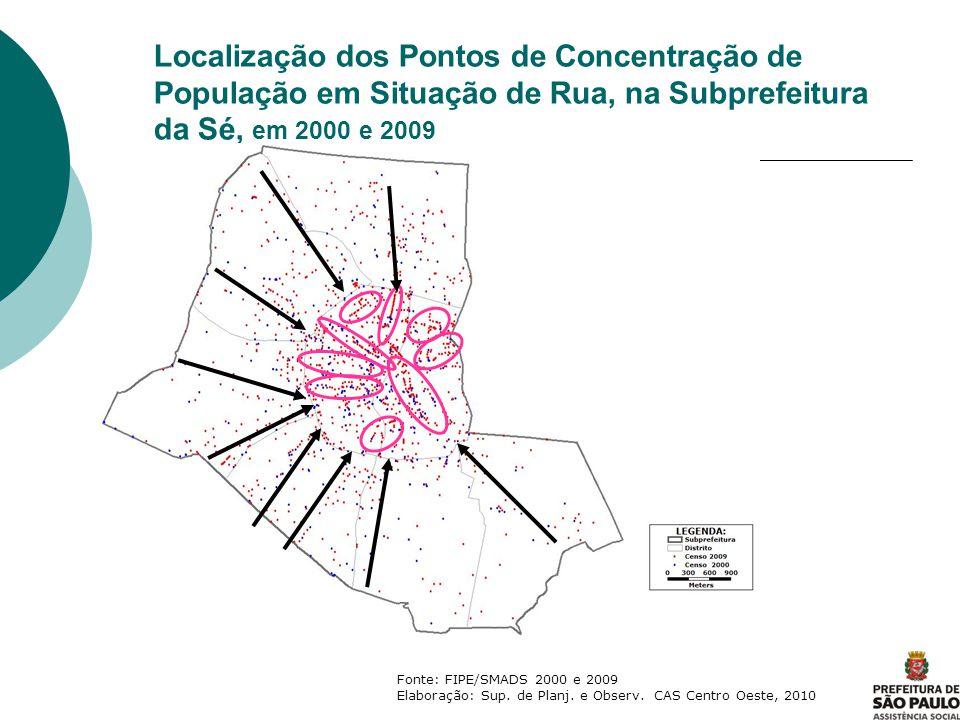 Localização dos Pontos de Concentração de População em Situação de Rua, na Subprefeitura da Sé, em 2000 e 2009