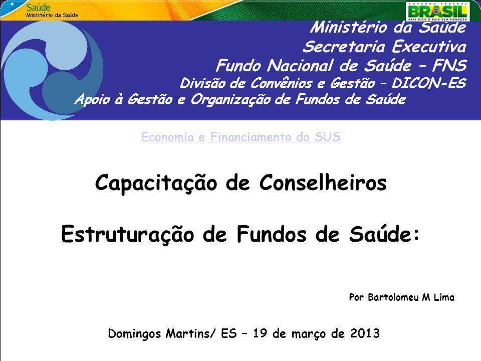 Capacitação de Conselheiros Estruturação de Fundos de Saúde:
