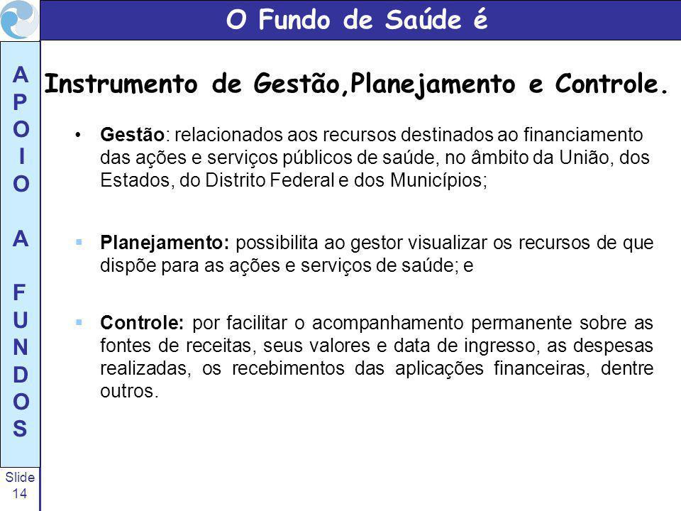 O Fundo de Saúde é Instrumento de Gestão,Planejamento e Controle.