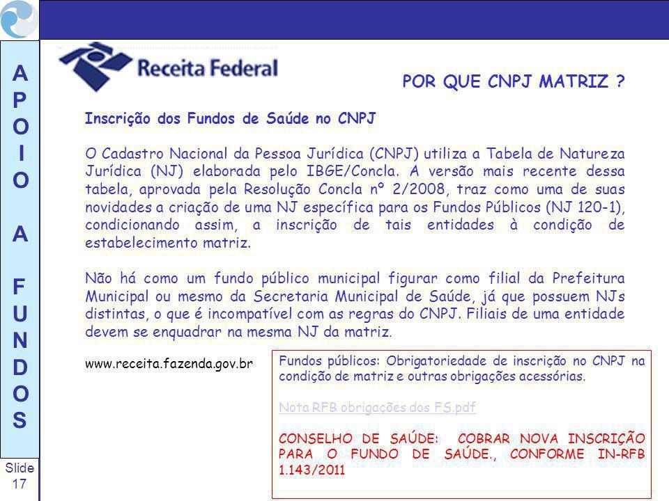POR QUE CNPJ MATRIZ Inscrição dos Fundos de Saúde no CNPJ