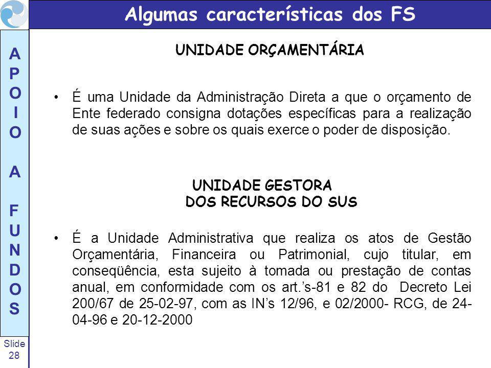 Algumas características dos FS UNIDADE ORÇAMENTÁRIA