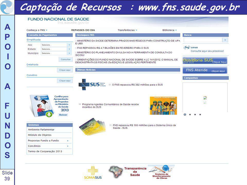 Captação de Recursos : www.fns.saude.gov.br