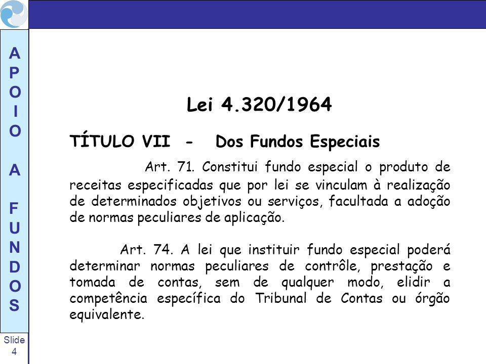 Lei 4.320/1964 TÍTULO VII - Dos Fundos Especiais.