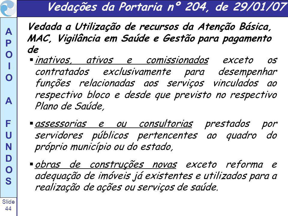 Vedações da Portaria nº 204, de 29/01/07