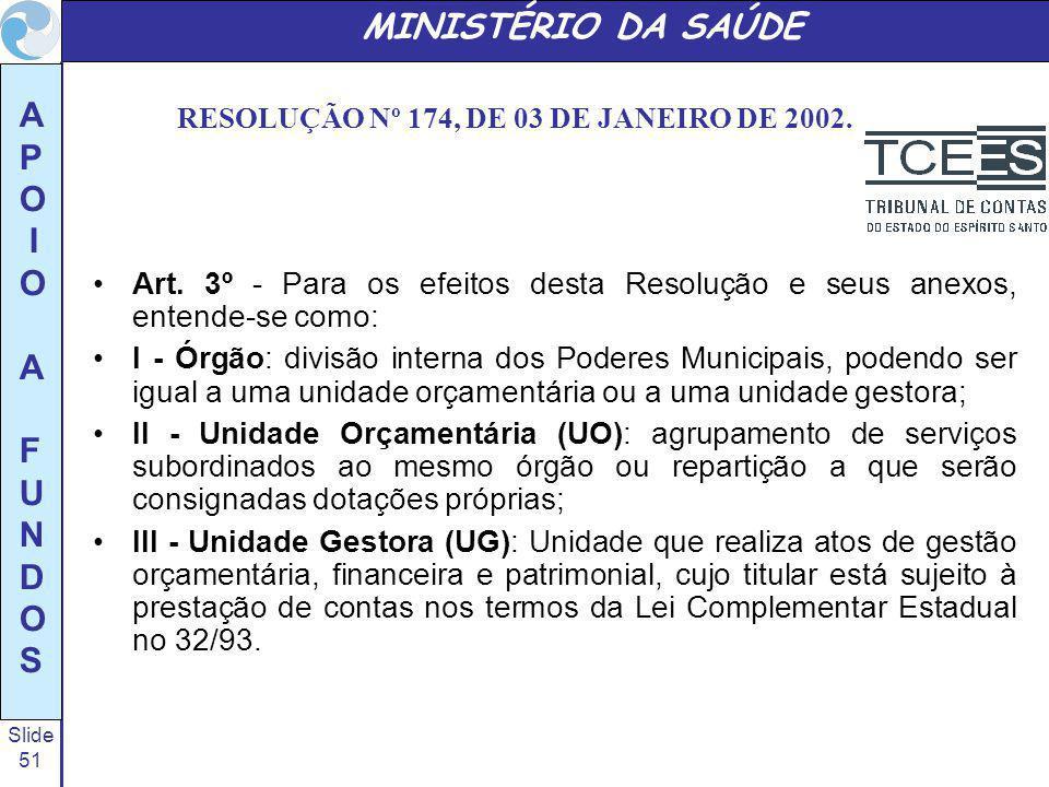 RESOLUÇÃO Nº 174, DE 03 DE JANEIRO DE 2002.