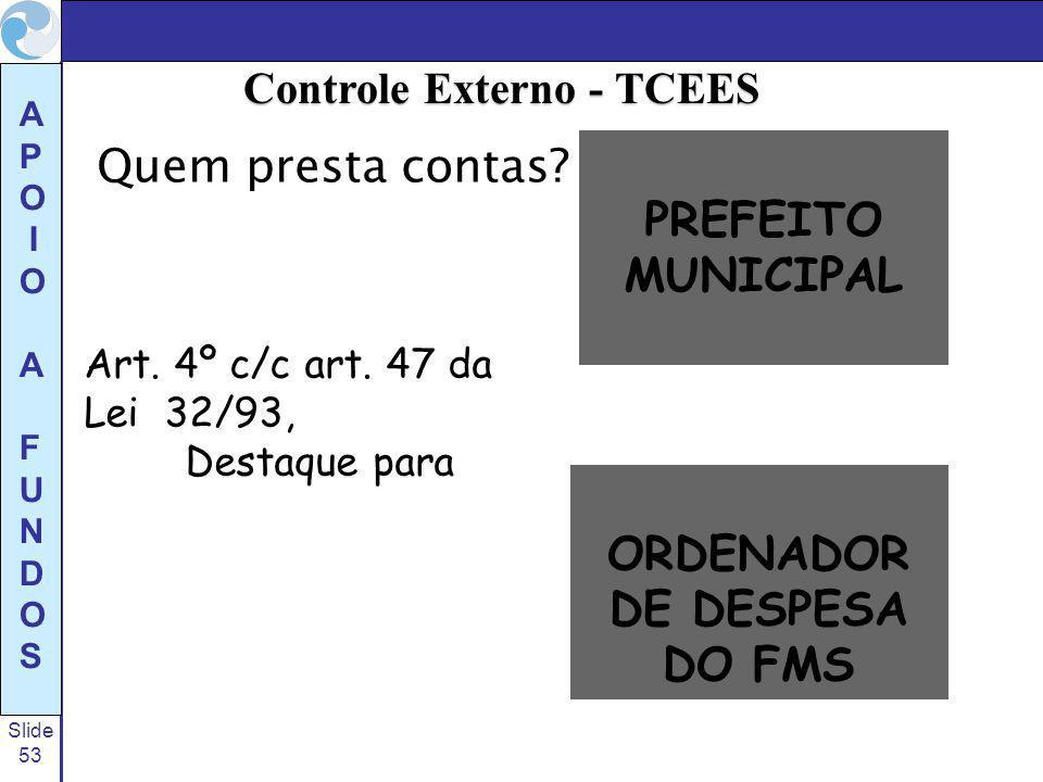 Controle Externo - TCEES ORDENADOR DE DESPESA DO FMS