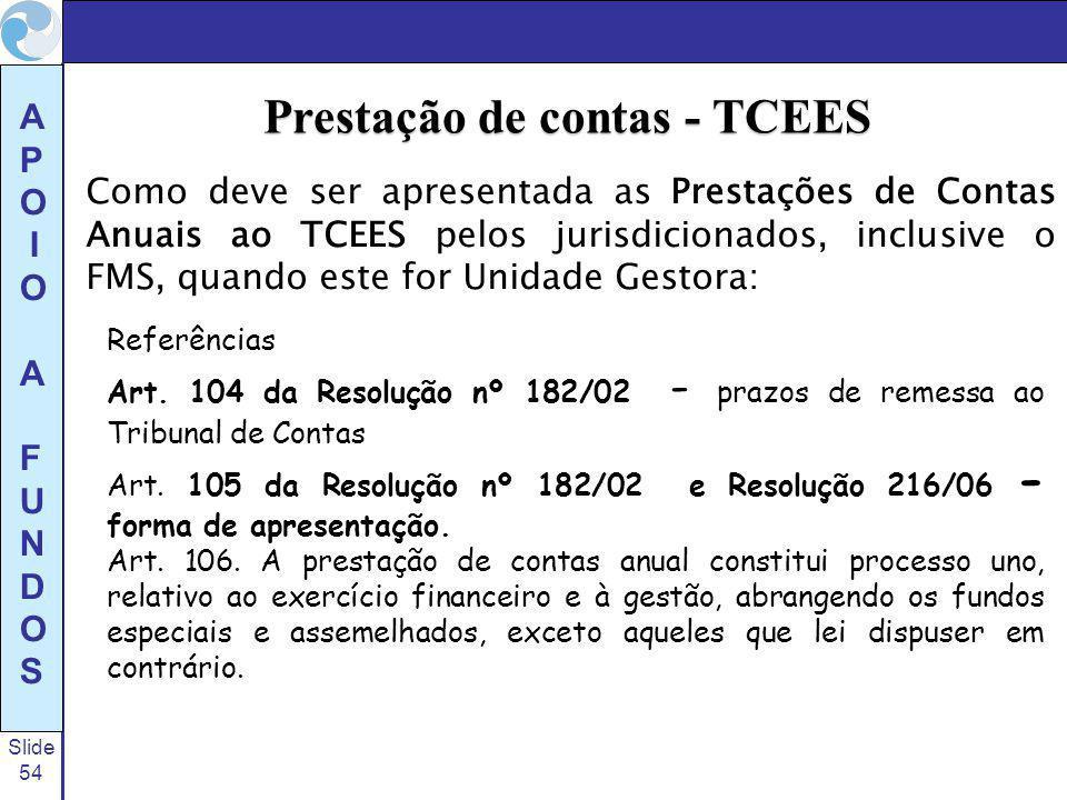 Prestação de contas - TCEES