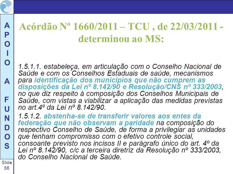 Acórdão Nº 1660/2011 – TCU , de 22/03/2011 - determinou ao MS: