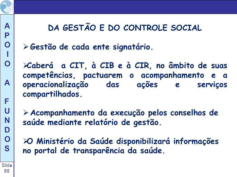 DA GESTÃO E DO CONTROLE SOCIAL