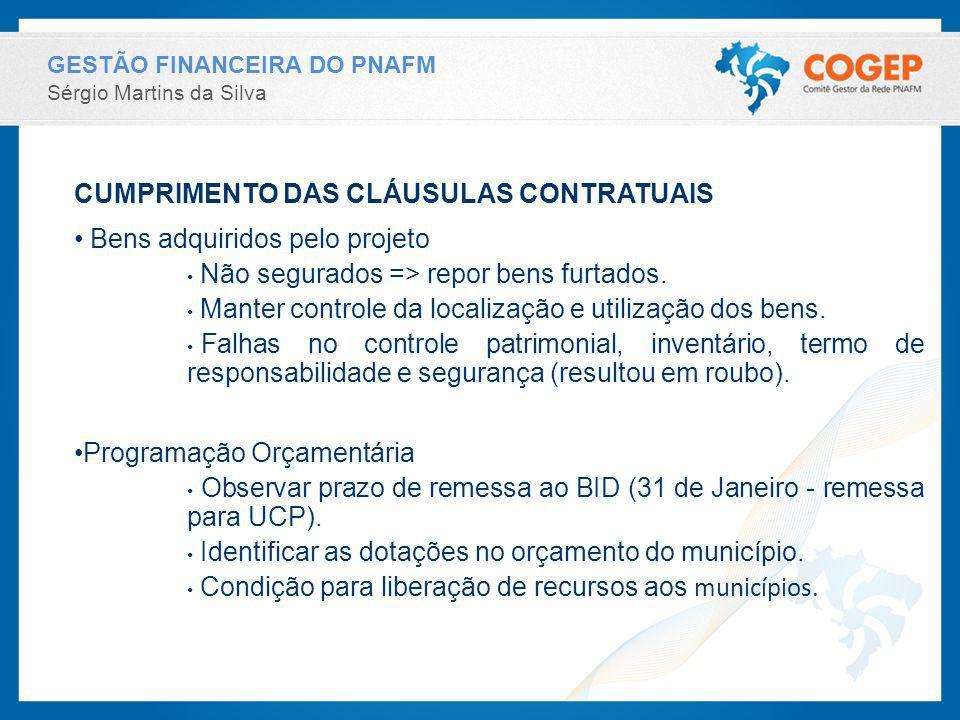 CUMPRIMENTO DAS CLÁUSULAS CONTRATUAIS Bens adquiridos pelo projeto