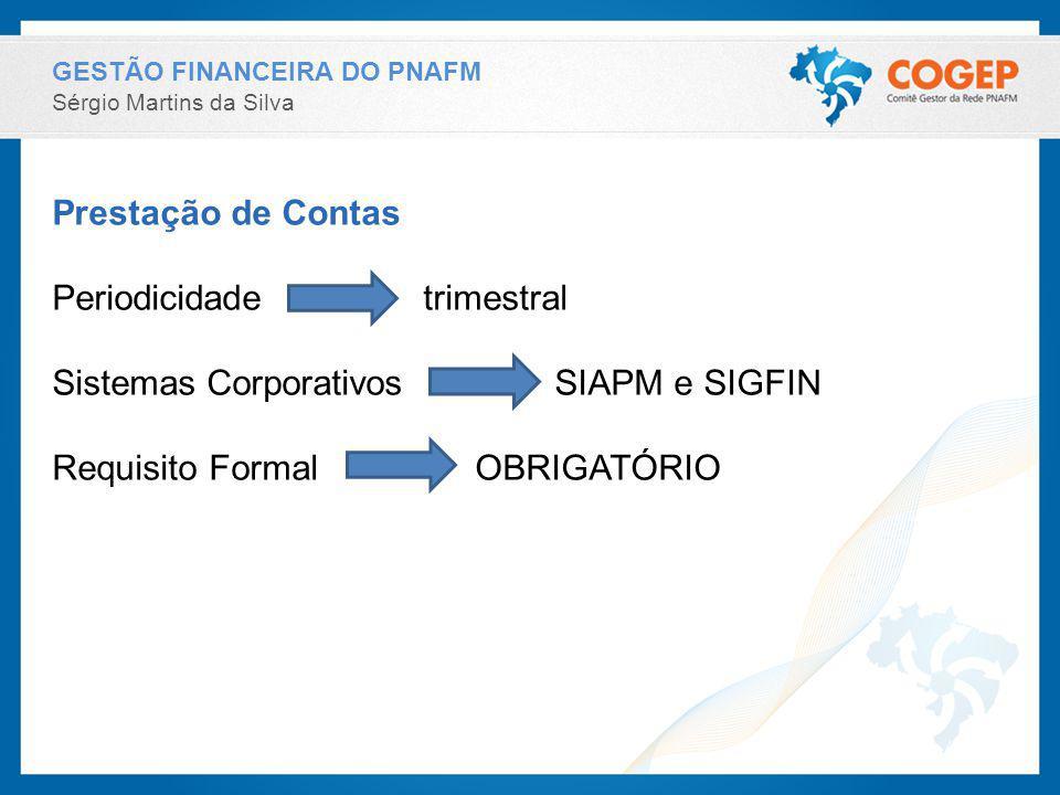 Periodicidade trimestral Sistemas Corporativos SIAPM e SIGFIN