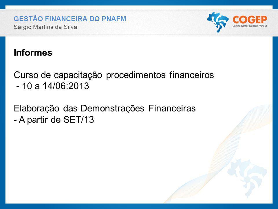 Curso de capacitação procedimentos financeiros - 10 a 14/06:2013