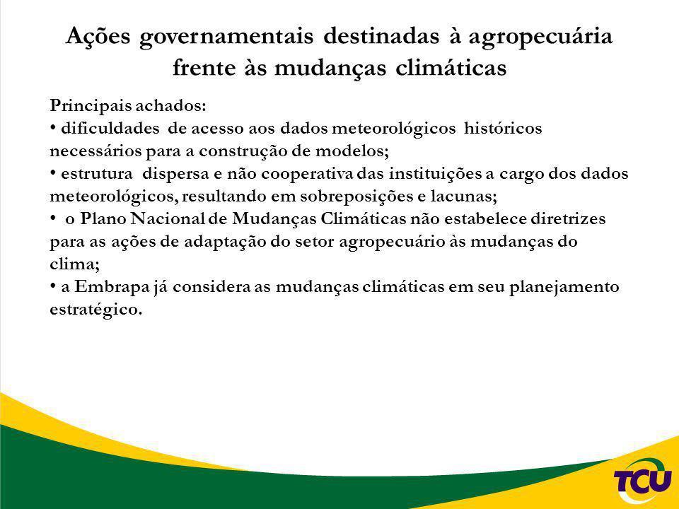 Ações governamentais destinadas à agropecuária frente às mudanças climáticas