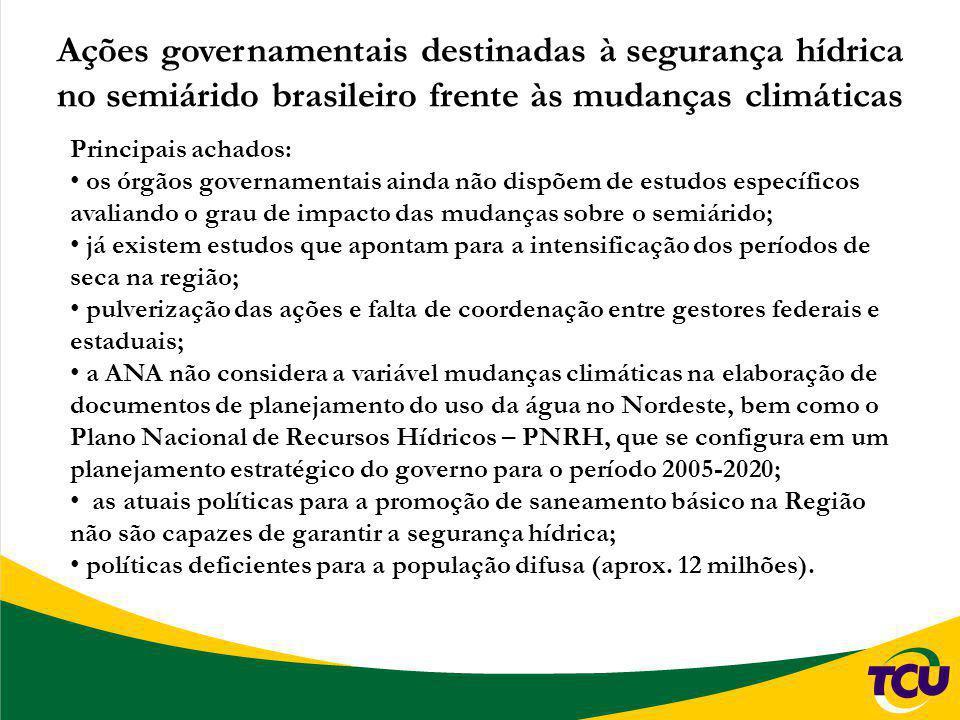 Ações governamentais destinadas à segurança hídrica no semiárido brasileiro frente às mudanças climáticas