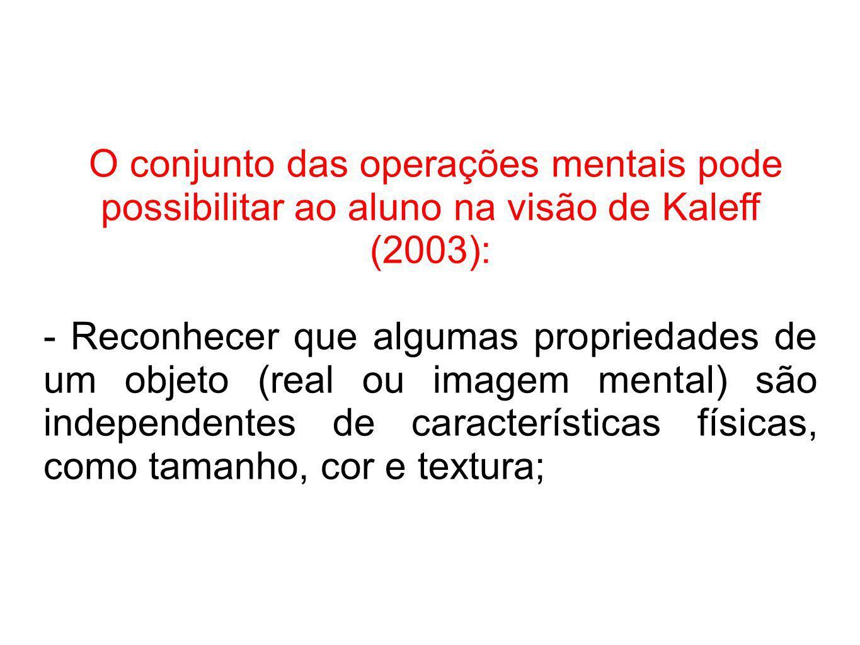O conjunto das operações mentais pode possibilitar ao aluno na visão de Kaleff (2003):