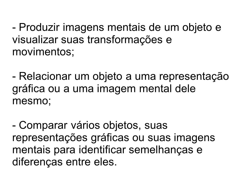 - Produzir imagens mentais de um objeto e visualizar suas transformações e movimentos;