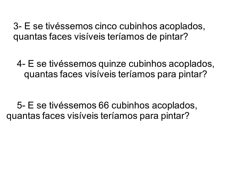 3- E se tivéssemos cinco cubinhos acoplados, quantas faces visíveis teríamos de pintar