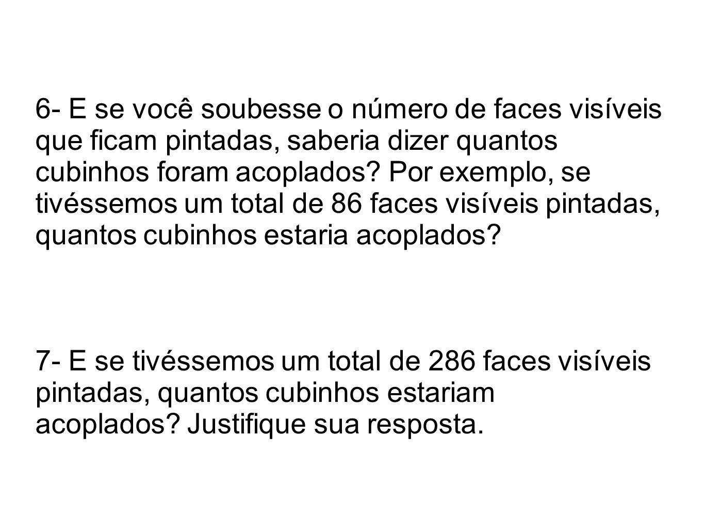 6- E se você soubesse o número de faces visíveis que ficam pintadas, saberia dizer quantos