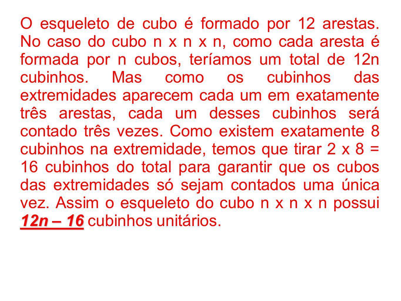 O esqueleto de cubo é formado por 12 arestas