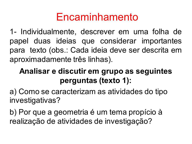 Analisar e discutir em grupo as seguintes perguntas (texto 1):