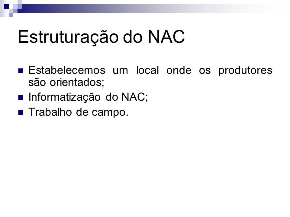 Estruturação do NAC Estabelecemos um local onde os produtores são orientados; Informatização do NAC;