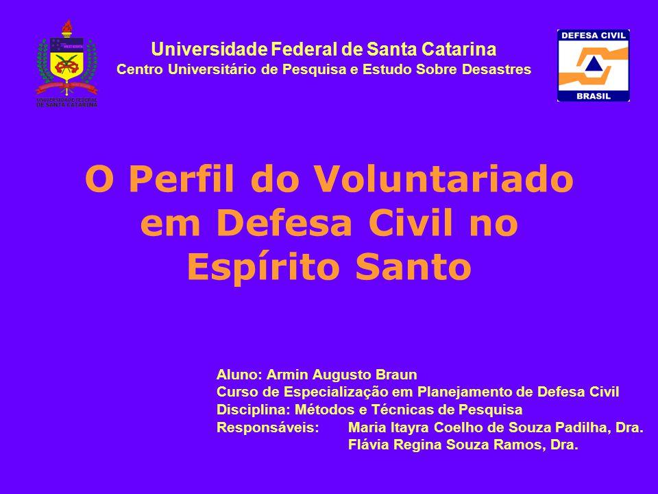O Perfil do Voluntariado em Defesa Civil no Espírito Santo