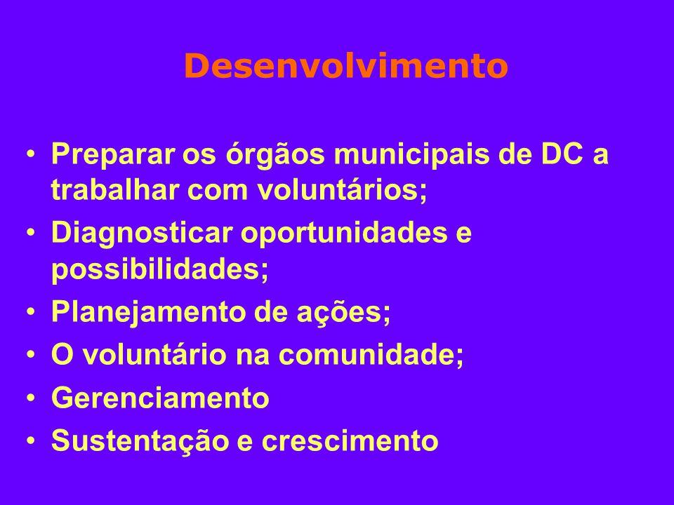 Desenvolvimento Preparar os órgãos municipais de DC a trabalhar com voluntários; Diagnosticar oportunidades e possibilidades;