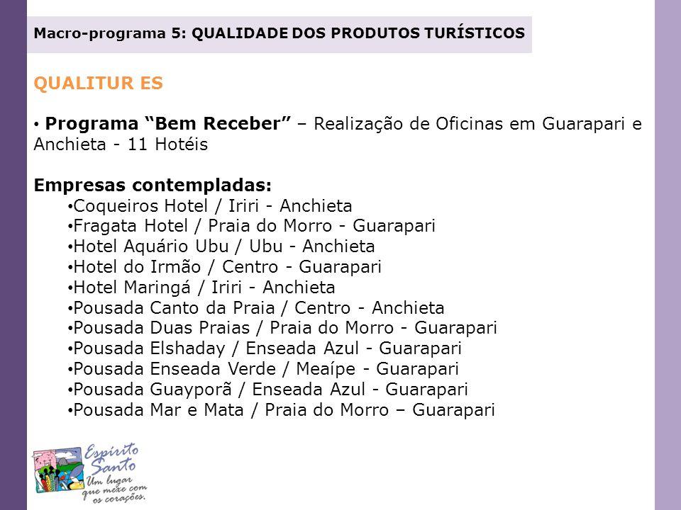 Empresas contempladas: Coqueiros Hotel / Iriri - Anchieta