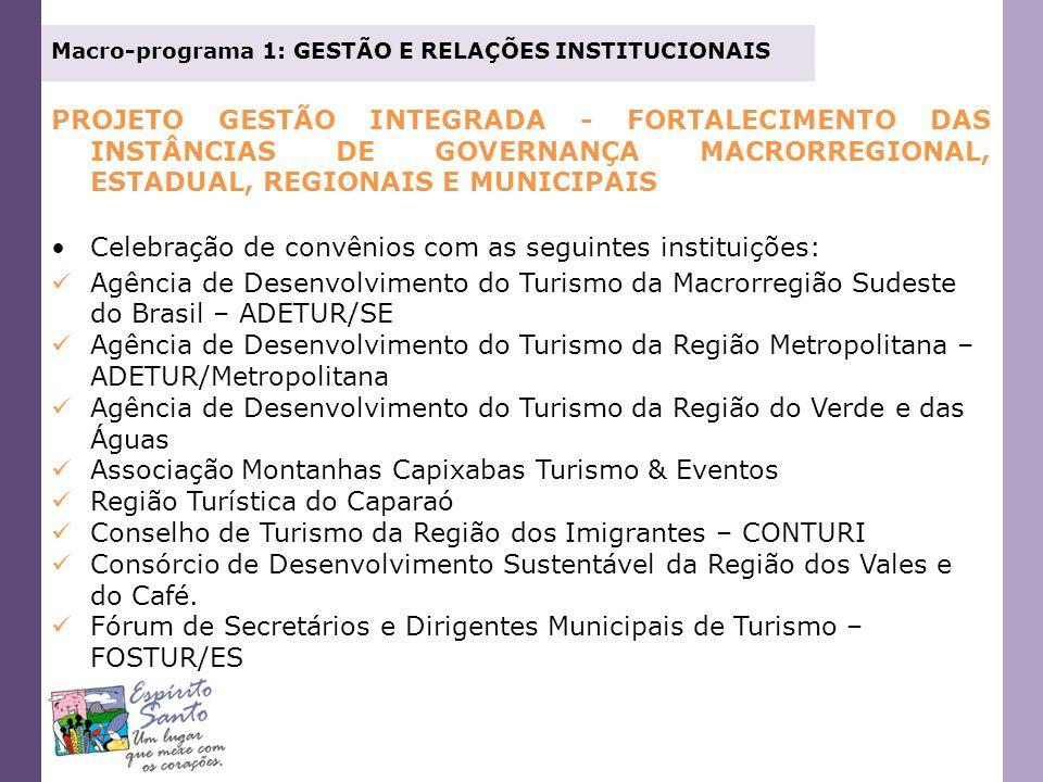 Celebração de convênios com as seguintes instituições: