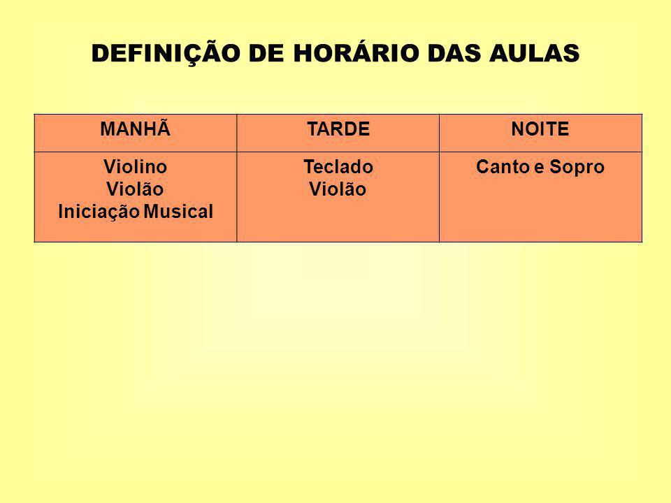 DEFINIÇÃO DE HORÁRIO DAS AULAS
