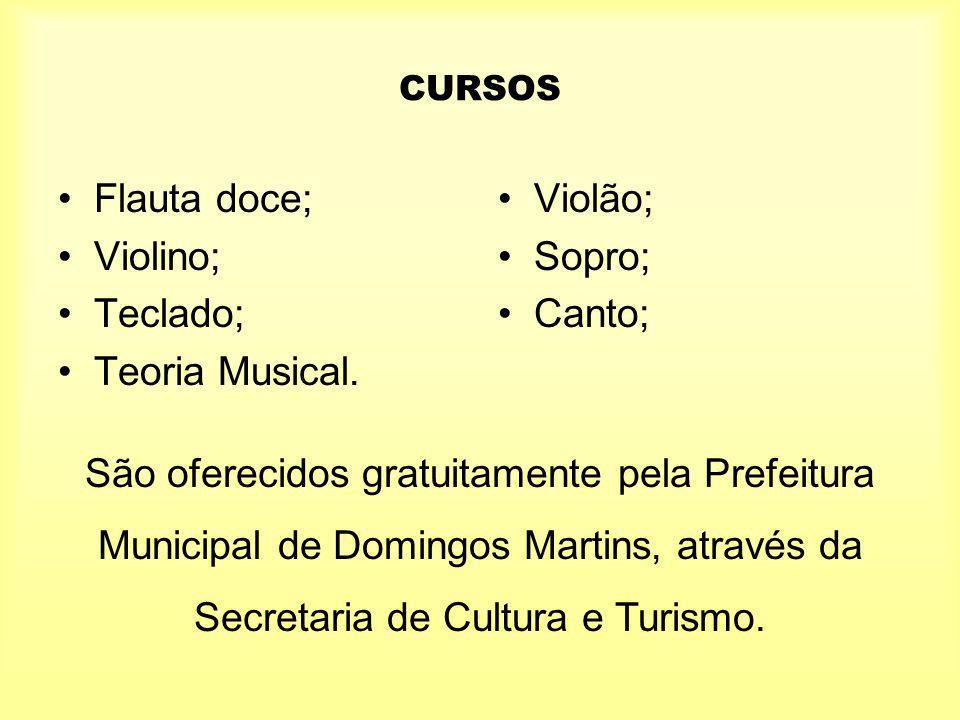 Flauta doce; Violino; Teclado; Teoria Musical. Violão; Sopro; Canto;