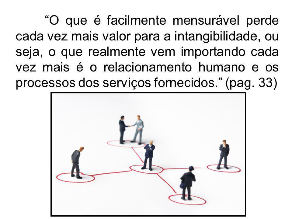 O que é facilmente mensurável perde cada vez mais valor para a intangibilidade, ou seja, o que realmente vem importando cada vez mais é o relacionamento humano e os processos dos serviços fornecidos. (pag.