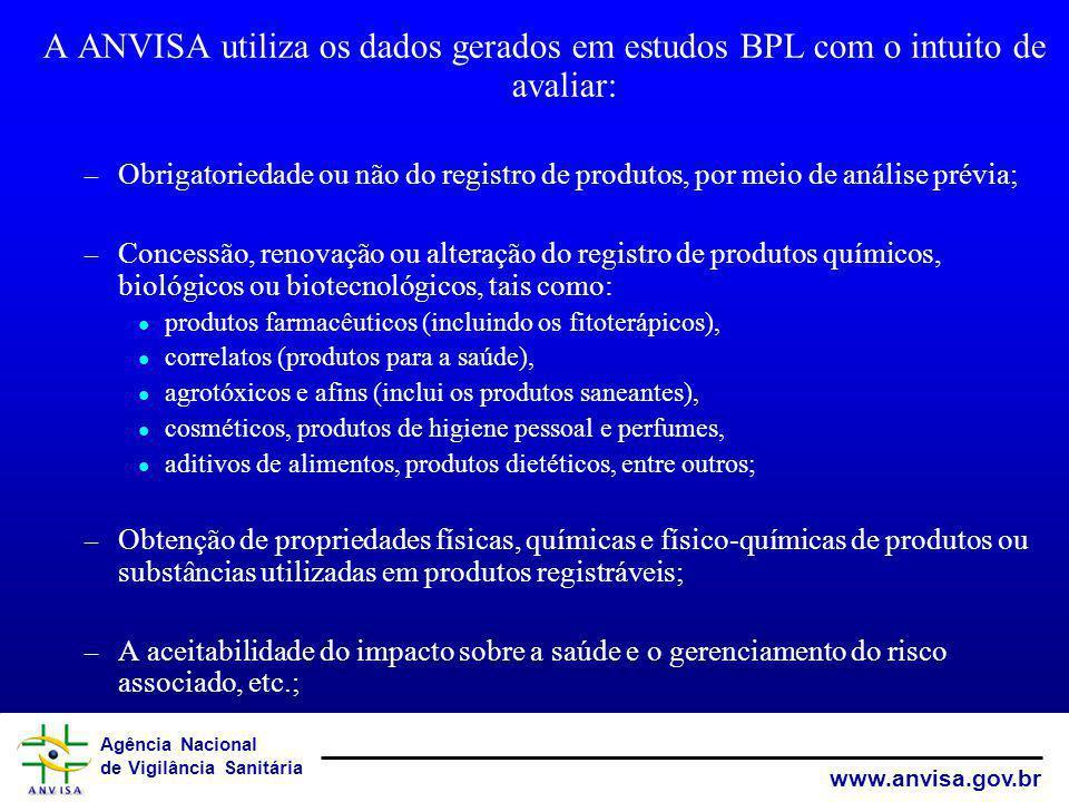 A ANVISA utiliza os dados gerados em estudos BPL com o intuito de avaliar: