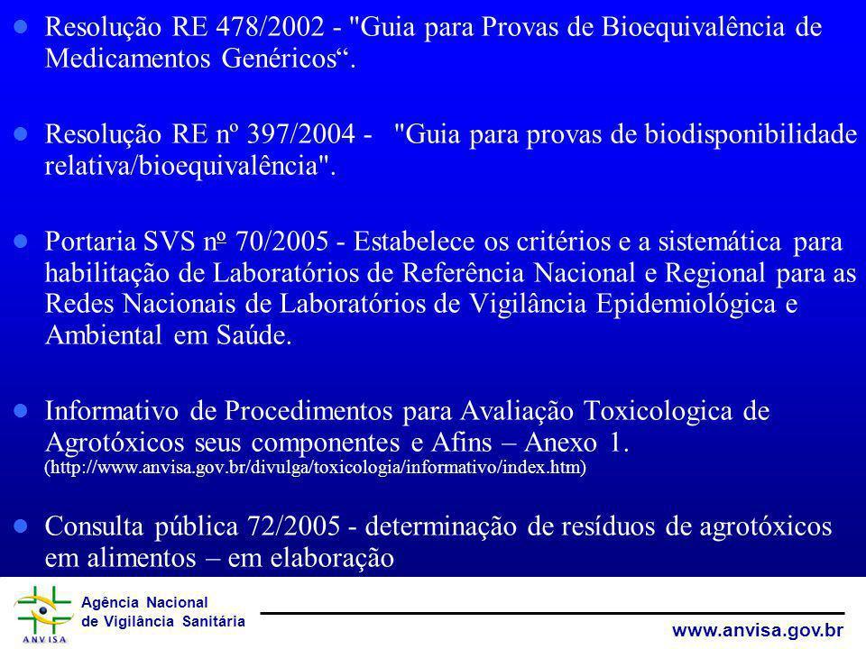 Resolução RE 478/2002 - Guia para Provas de Bioequivalência de Medicamentos Genéricos .