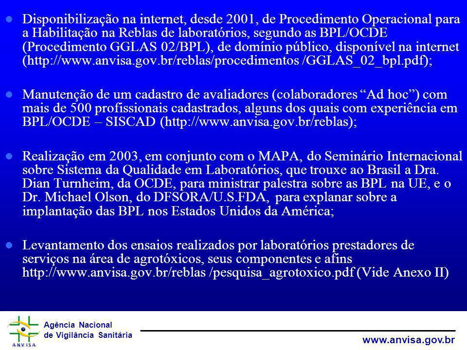 Disponibilização na internet, desde 2001, de Procedimento Operacional para a Habilitação na Reblas de laboratórios, segundo as BPL/OCDE (Procedimento GGLAS 02/BPL), de domínio público, disponível na internet (http://www.anvisa.gov.br/reblas/procedimentos /GGLAS_02_bpl.pdf);