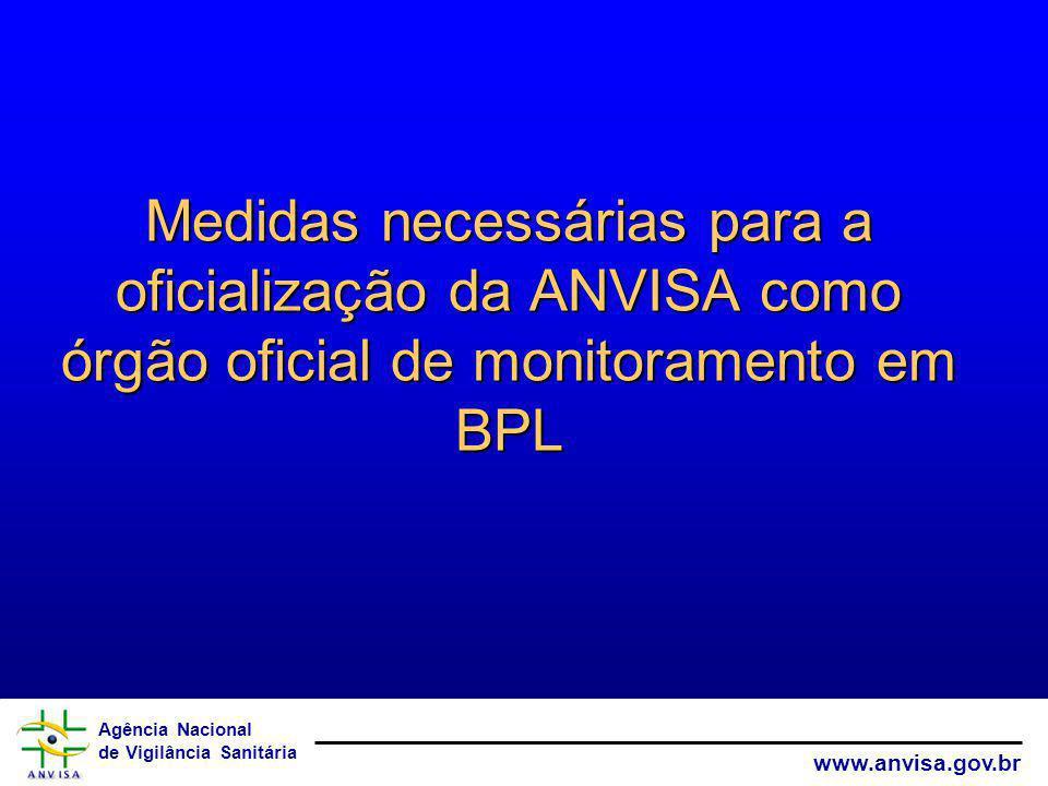 Medidas necessárias para a oficialização da ANVISA como órgão oficial de monitoramento em BPL